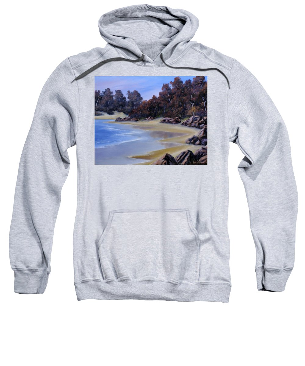 Beach Sweatshirt featuring the painting Lonely Beach by John Cocoris