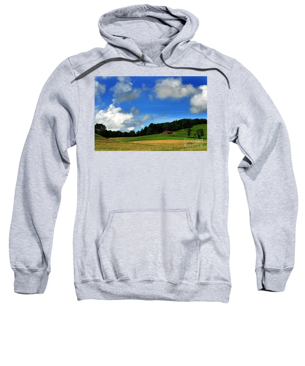 Clouds Sweatshirt featuring the photograph Lonely Meadow by Eric Liller
