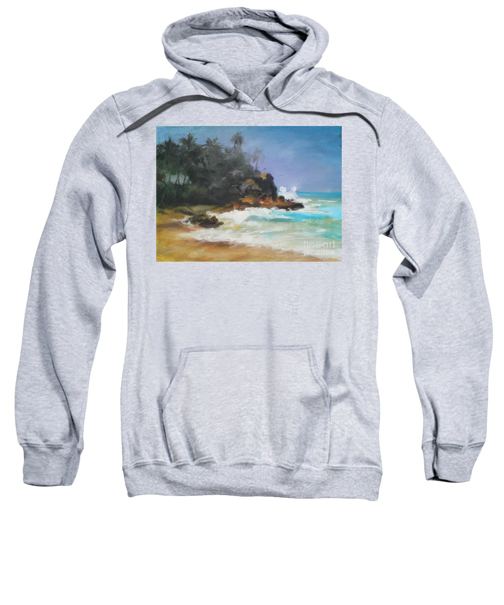 Seascape Sweatshirt featuring the painting Lonely Sea by Rushan Ruzaick