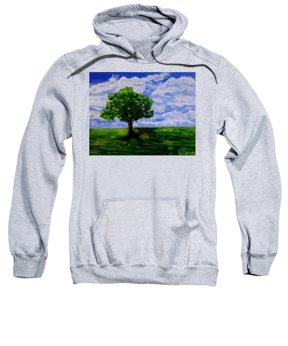 Sweatshirt featuring the painting Lonely Tree by Lei Wen