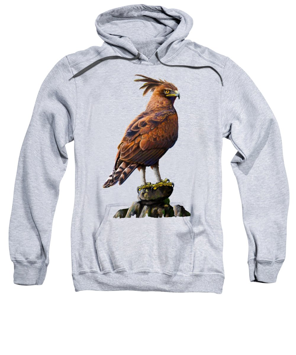 Eagle Sweatshirt featuring the painting Long Crested Eagle by Anthony Mwangi