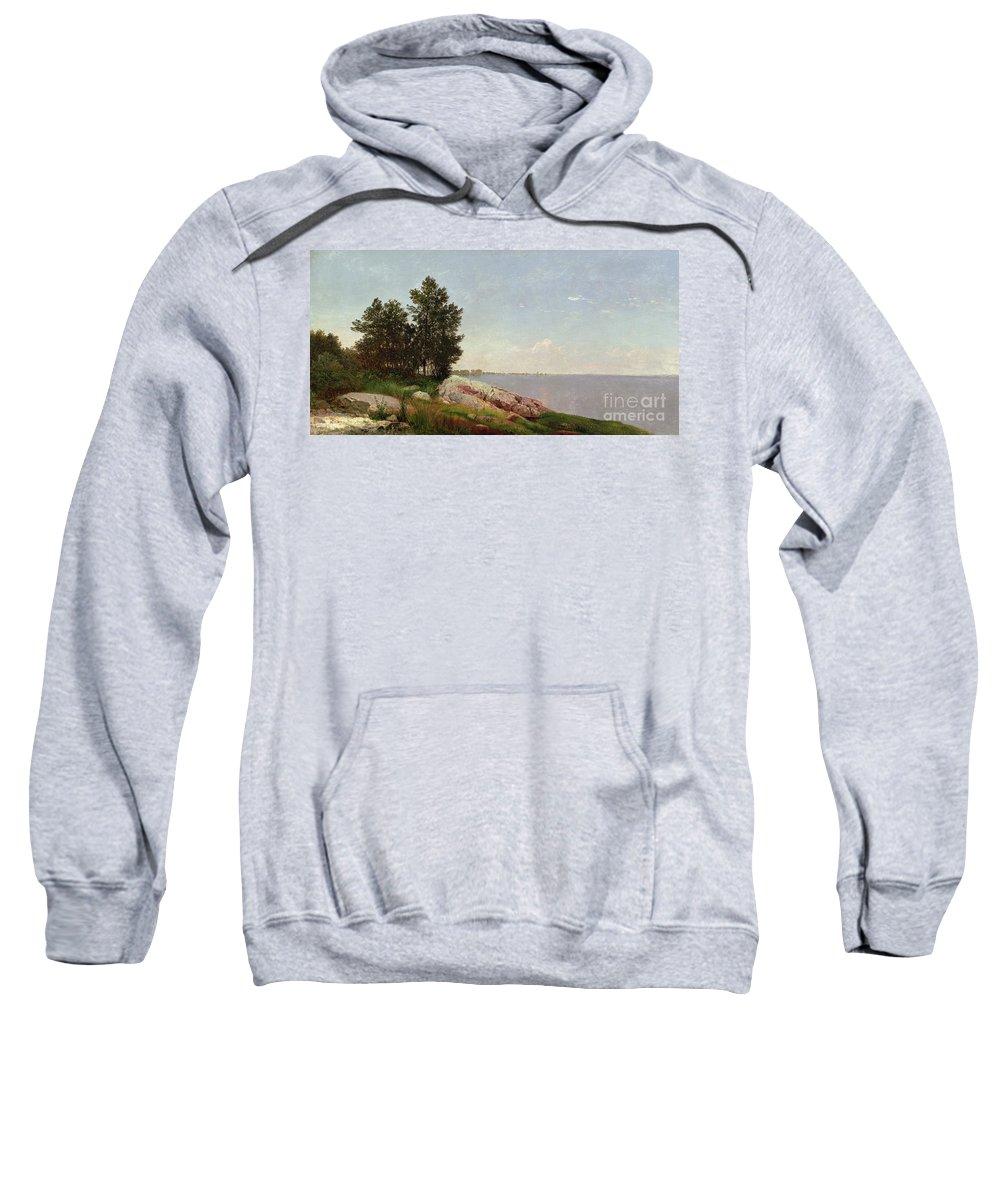 Long Island Sound At Darien (oil On Canvas) Long Island Sound At Darien (oil On Canvas) Sweatshirt featuring the painting Long Island Sound At Darien by John Frederick Kensett