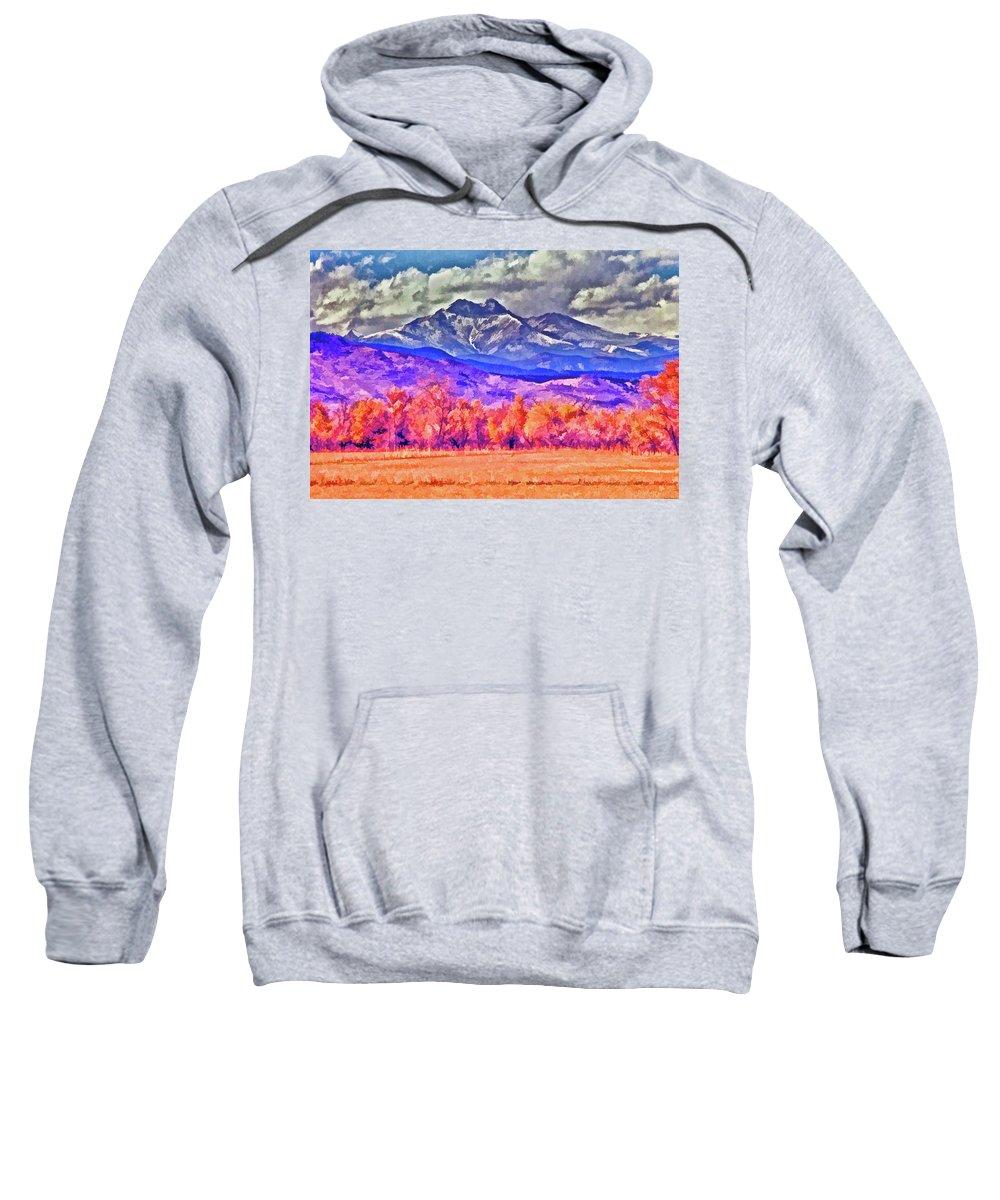 Santa Sweatshirt featuring the painting Longs Peak by Charles Muhle