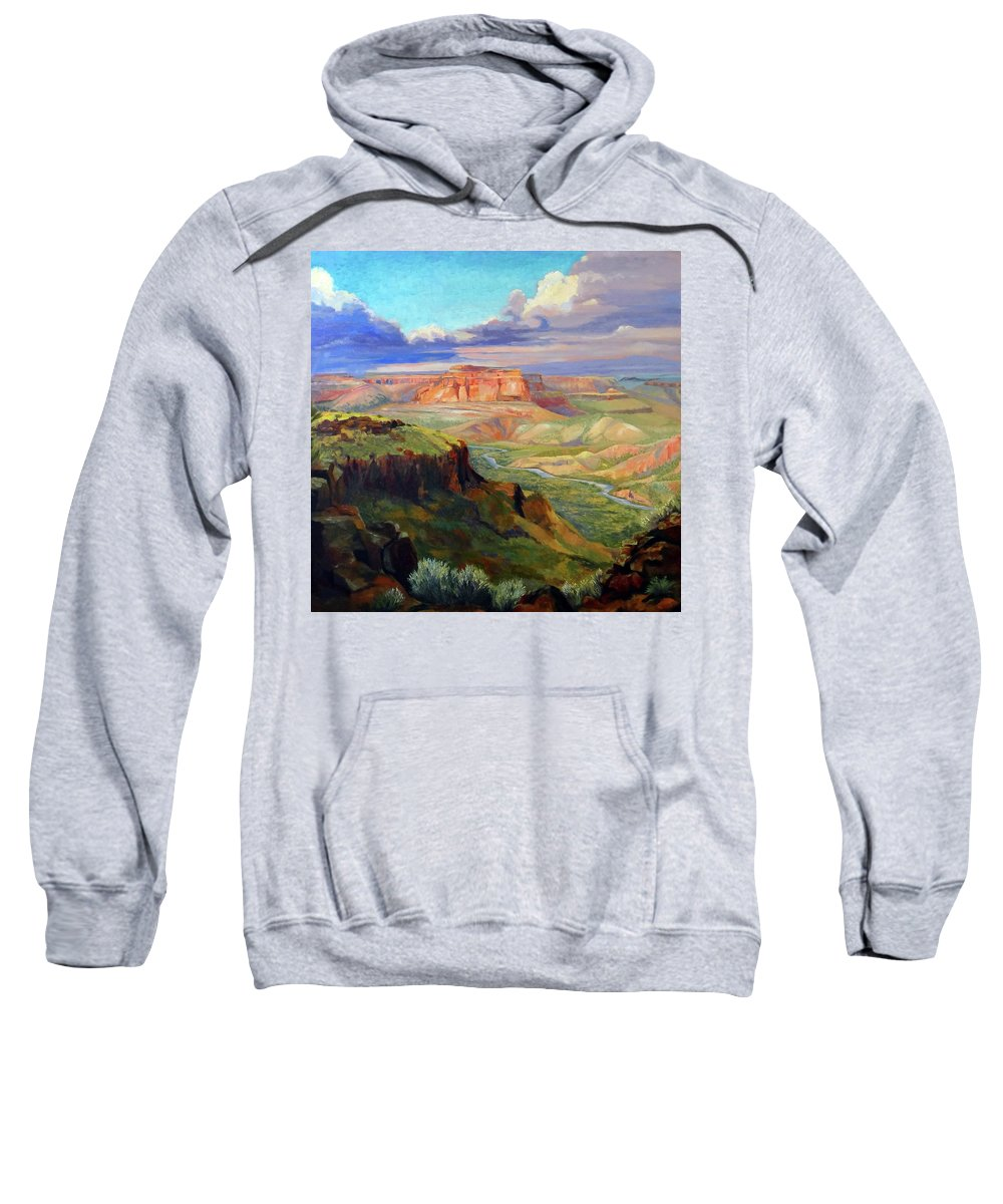 Landscape Sweatshirt featuring the painting Look Out At White Rock by Nancy Paris Pruden