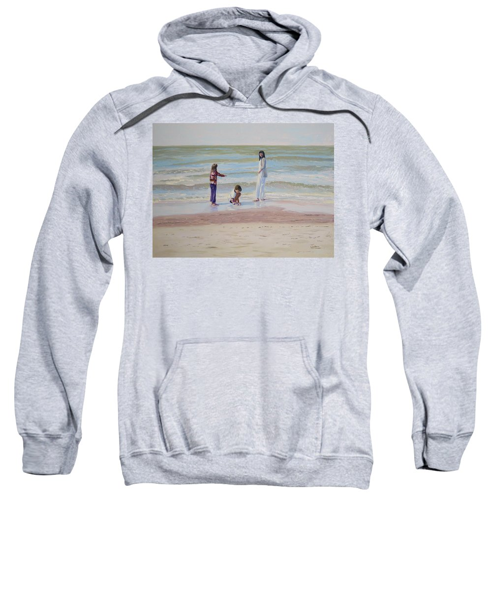 Beach Sweatshirt featuring the painting Look What I Found by Lea Novak