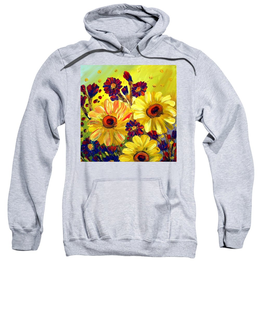 Flowers Sweatshirt featuring the painting Looking At Sun by Luiza Vizoli