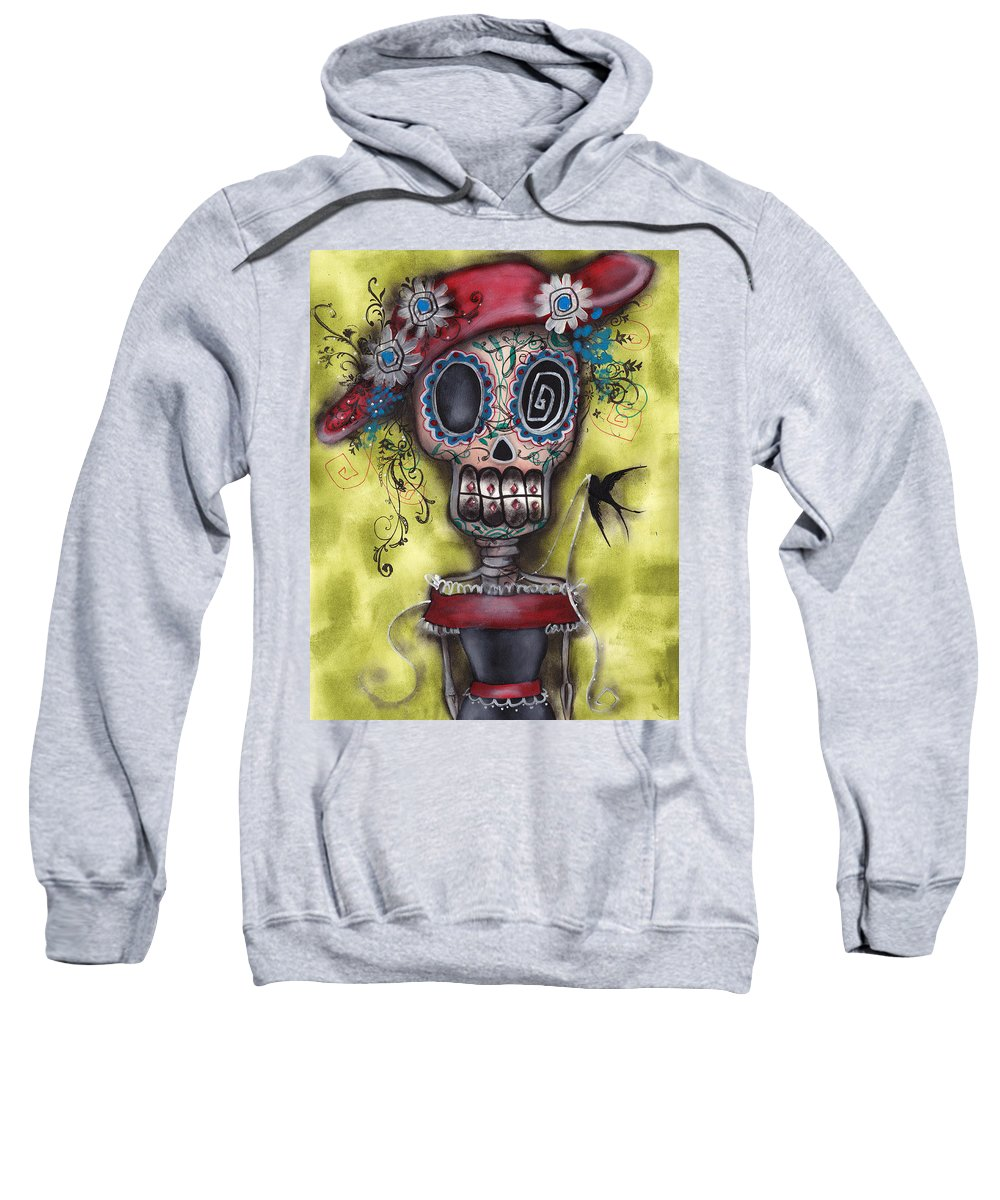Day Of The Dead Paintings Sweatshirt featuring the painting Looking For Love by Abril Andrade Griffith