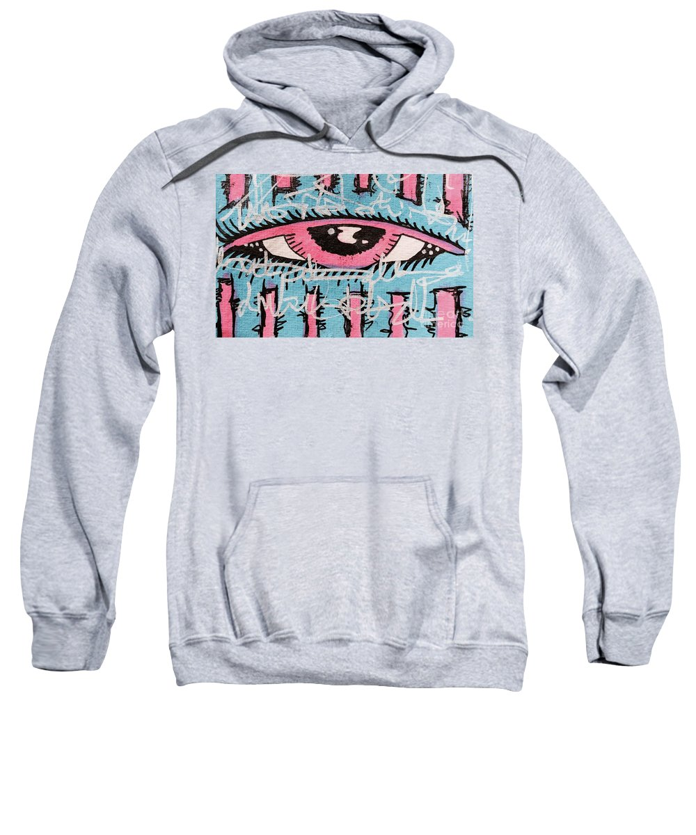 Eye Sweatshirt featuring the drawing Looking Glass by Lowkey Luciano