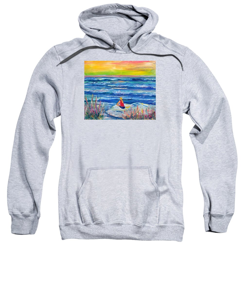 Ocean Sweatshirt featuring the painting Looking Out by Patricia Taylor