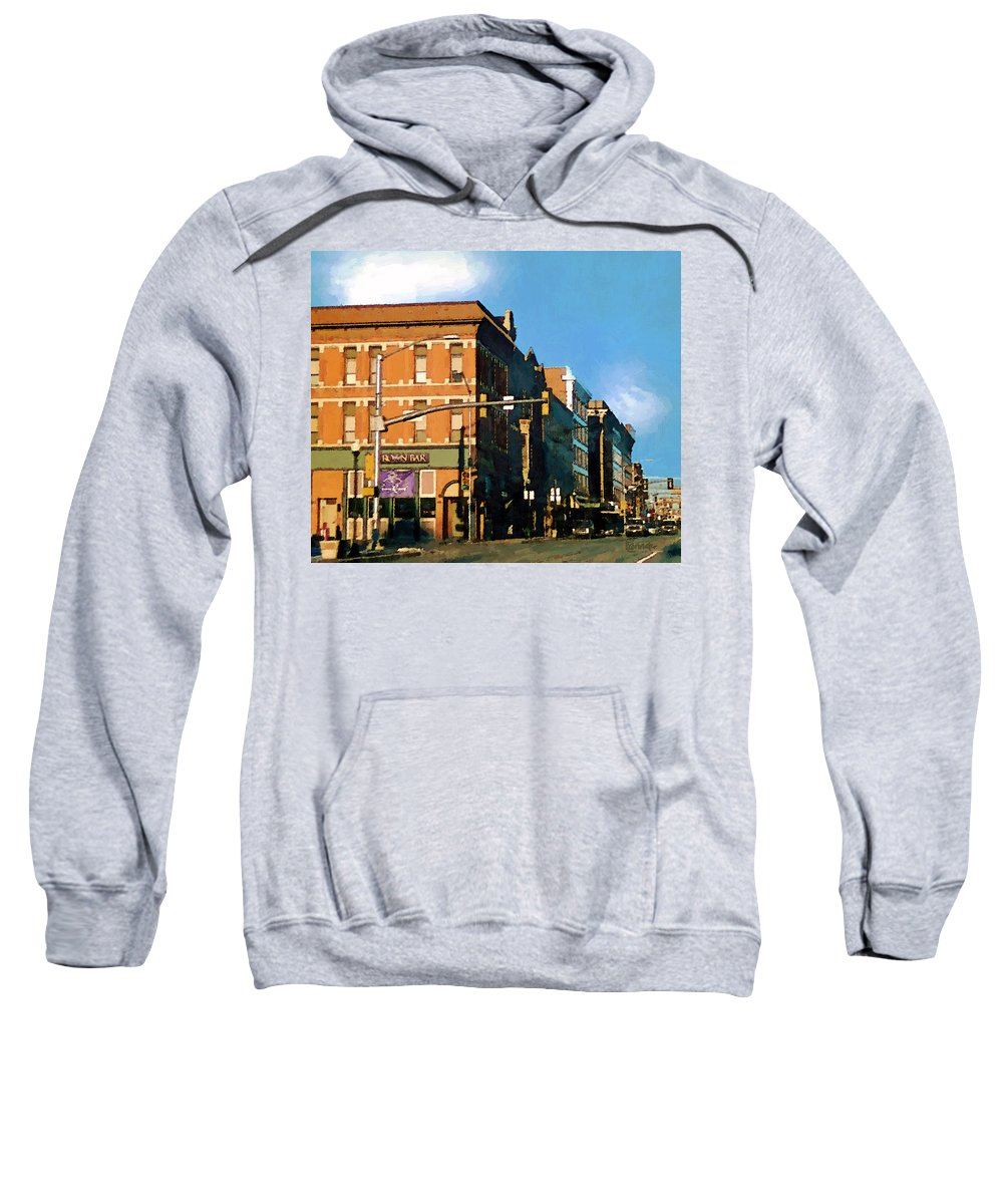 Buildings Sweatshirt featuring the painting Looking Up Main Street by RC deWinter
