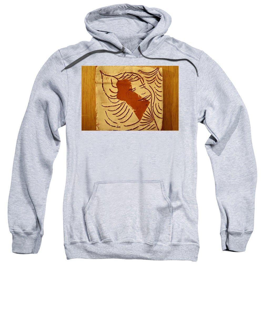 Jesus Sweatshirt featuring the ceramic art Lornah- Tile by Gloria Ssali