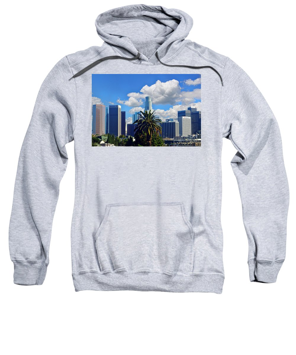 Los Angeles Sweatshirt featuring the photograph Los Angeles And Palm Trees by Mariola Bitner