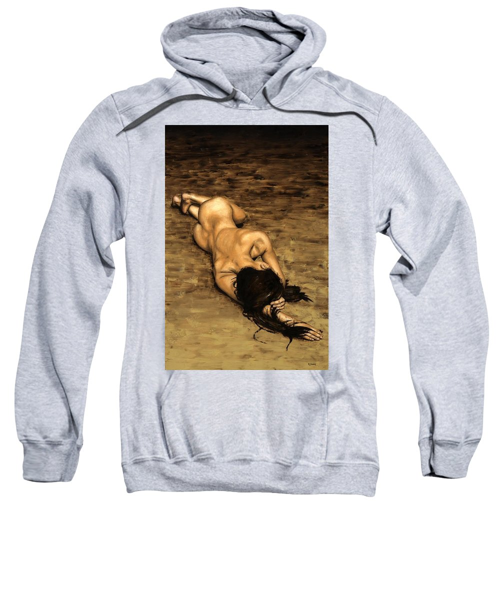 Nude Sweatshirt featuring the painting Loss by Richard Young