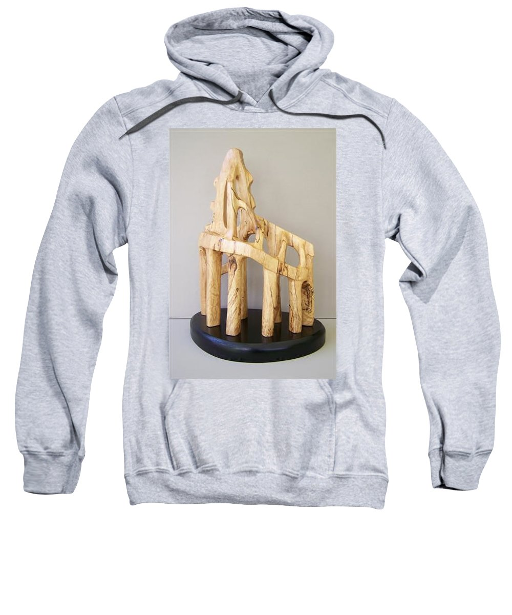 Wood-carving-sculpture-abstract- Sweatshirt featuring the sculpture Lost Glory by Norbert Bauwens