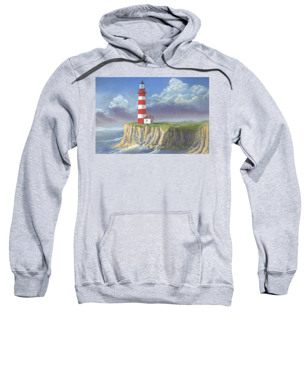 Light Sweatshirt featuring the painting Lost Point Light by Jerry McElroy