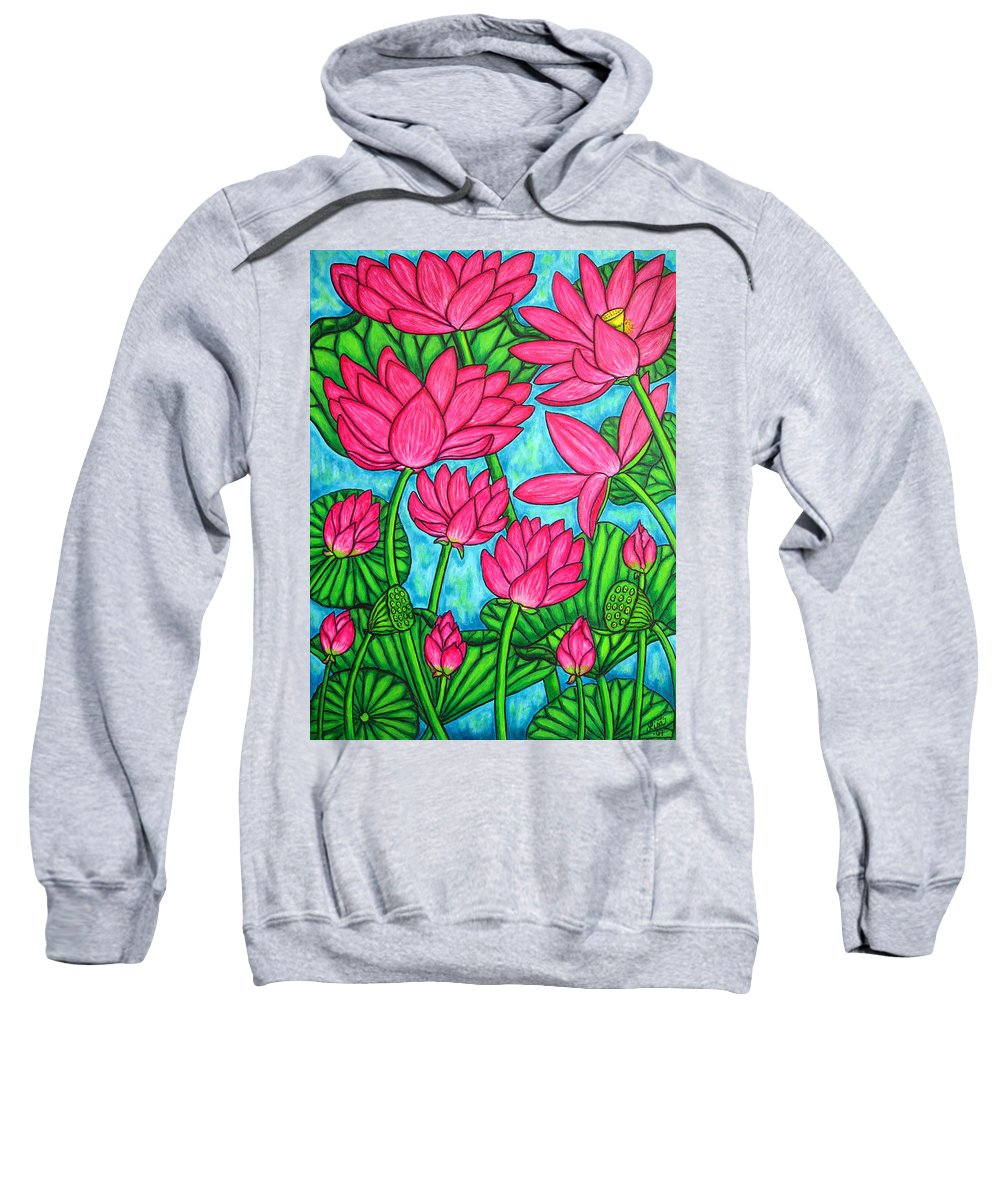 Sweatshirt featuring the painting Lotus Bliss by Lisa Lorenz