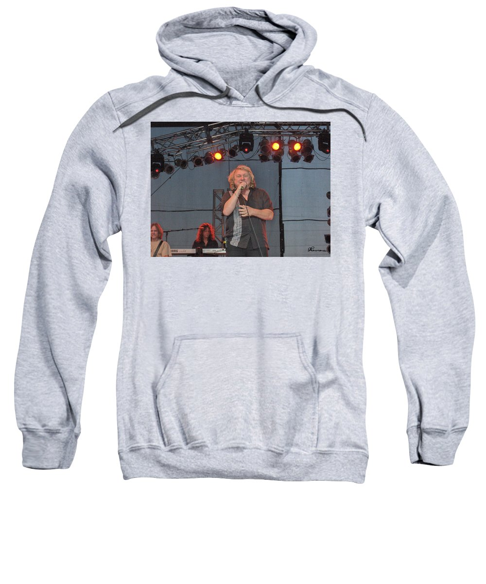 Lou Gramm Band Music Singer Rock And Roll Concert Lead Vocals Sweatshirt featuring the photograph Lou Gramm by Andrea Lawrence