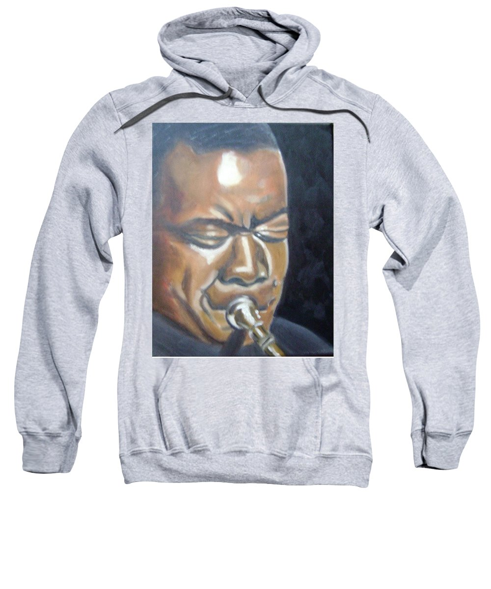 Louis Armstrong Sweatshirt featuring the painting Louis Armstrong by Toni Berry