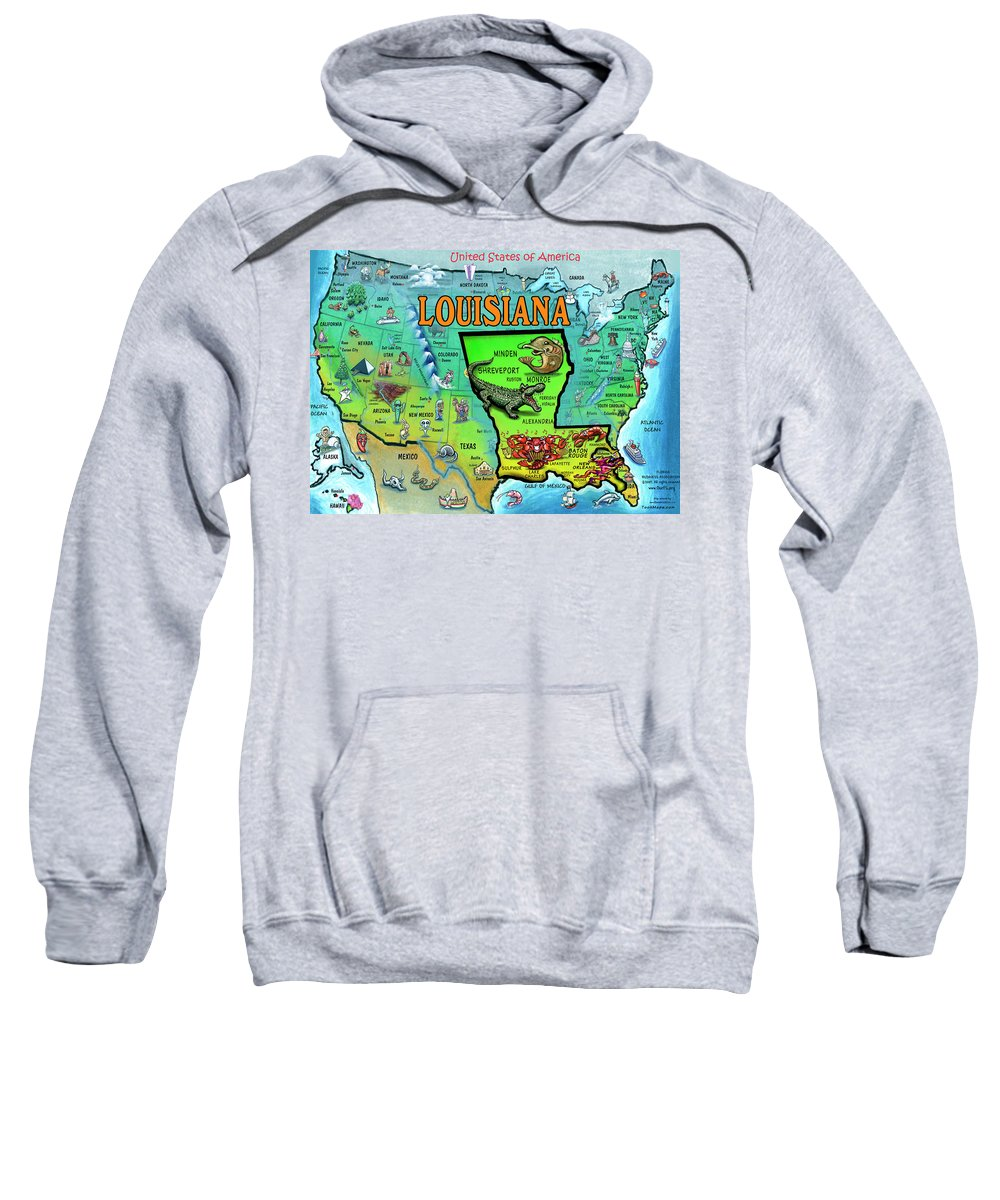 Louisiana Sweatshirt featuring the painting Louisiana Usa Cartoon Map by Kevin Middleton