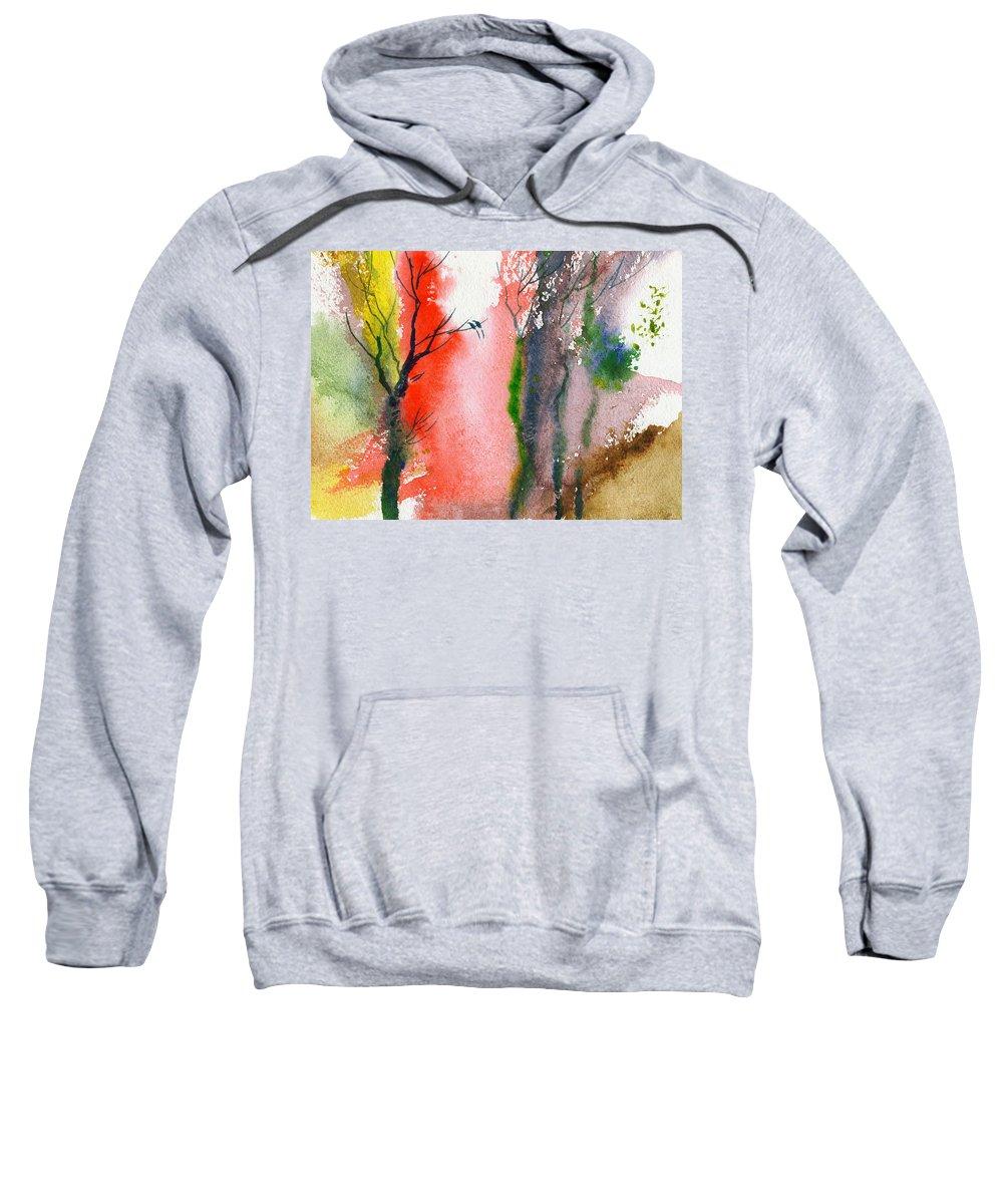 Landscape Sweatshirt featuring the painting Love Birds 2 by Anil Nene