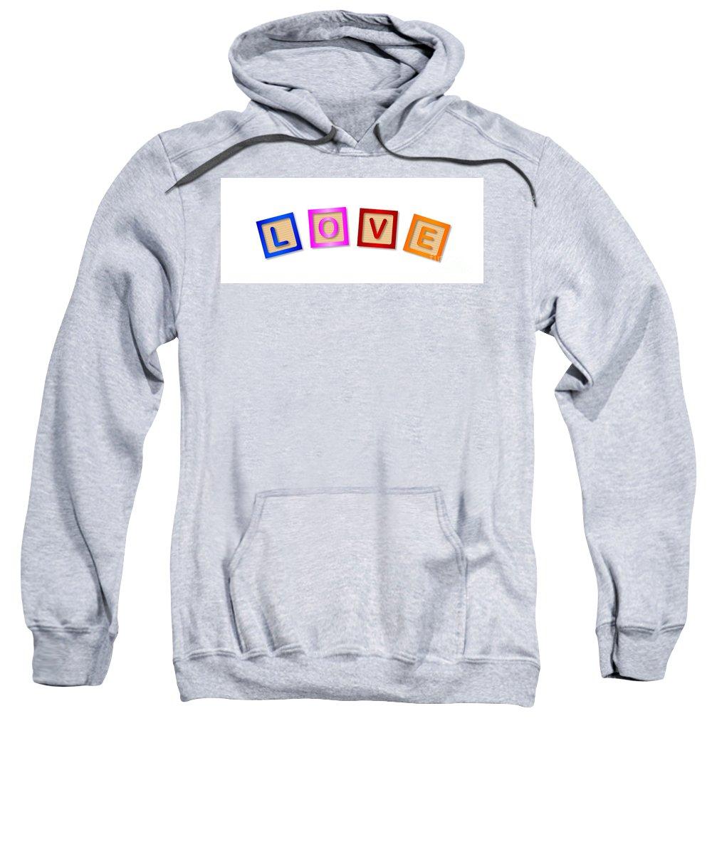 Love Sweatshirt featuring the digital art Love Blocks by Bigalbaloo Stock