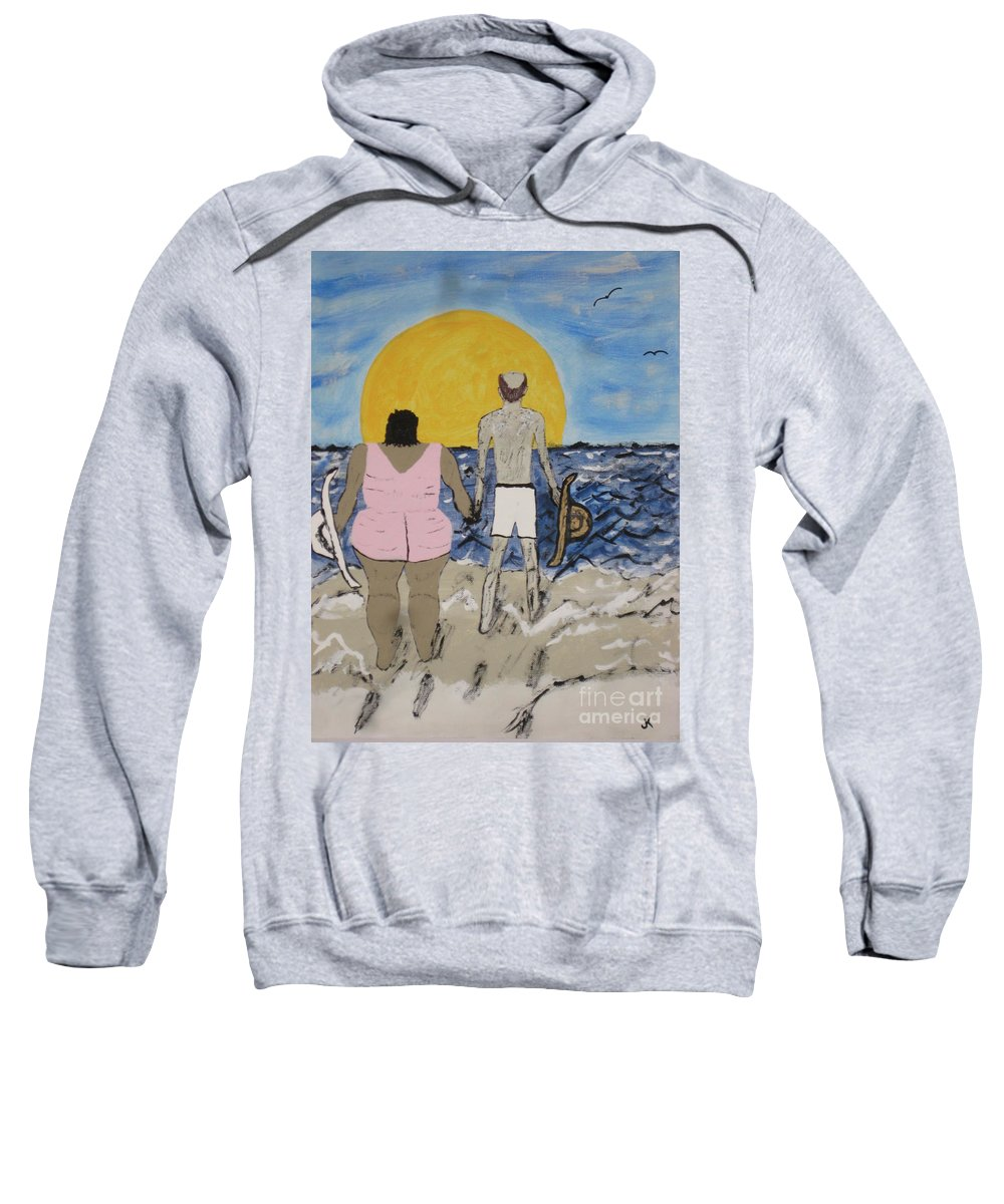 Love Sweatshirt featuring the painting Love Comes In All Sizes by Jeffrey Koss