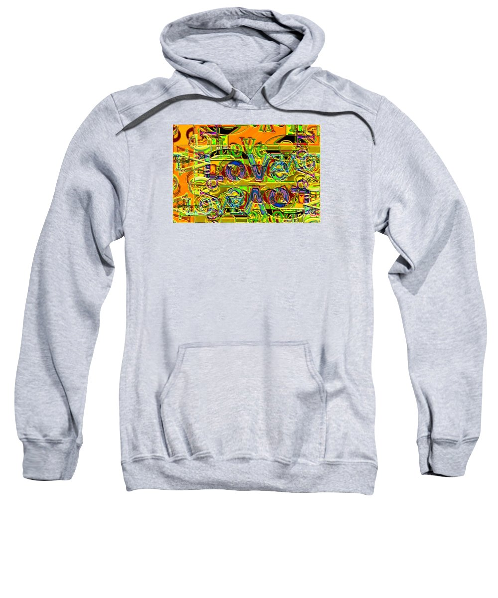 Abstract Sweatshirt featuring the digital art Love Contest by Ron Bissett