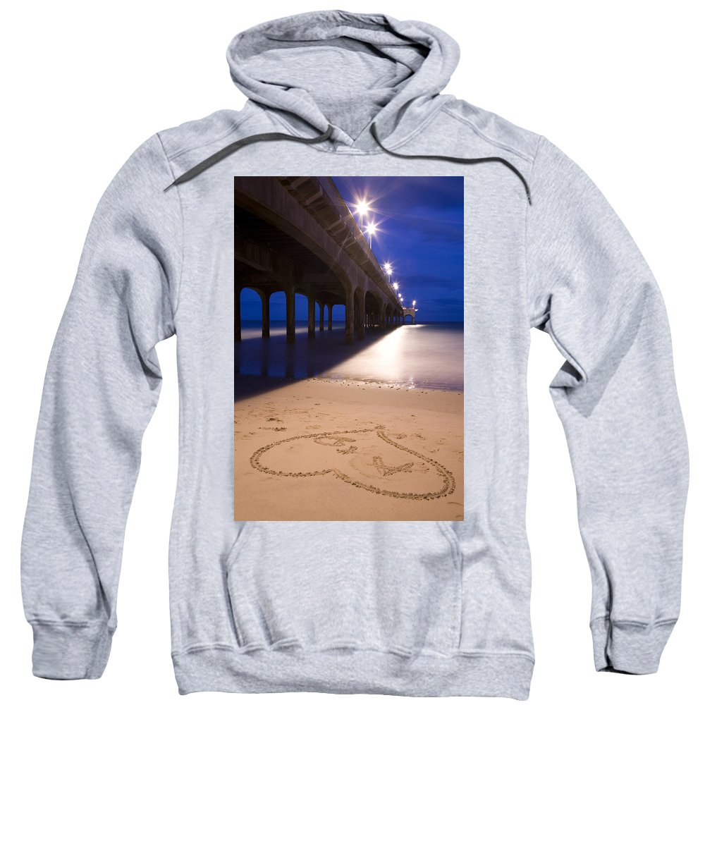 Boscombe Sweatshirt featuring the photograph Love Heart In The Sand At Boscombe Pier by Ian Middleton