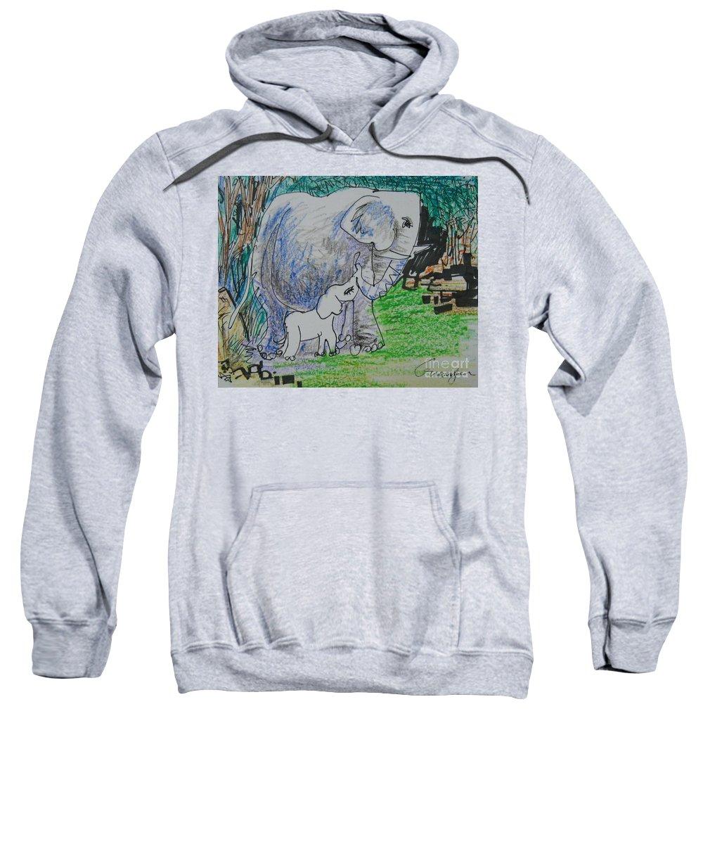 Elephant Sweatshirt featuring the drawing Love I by Guanyu Shi