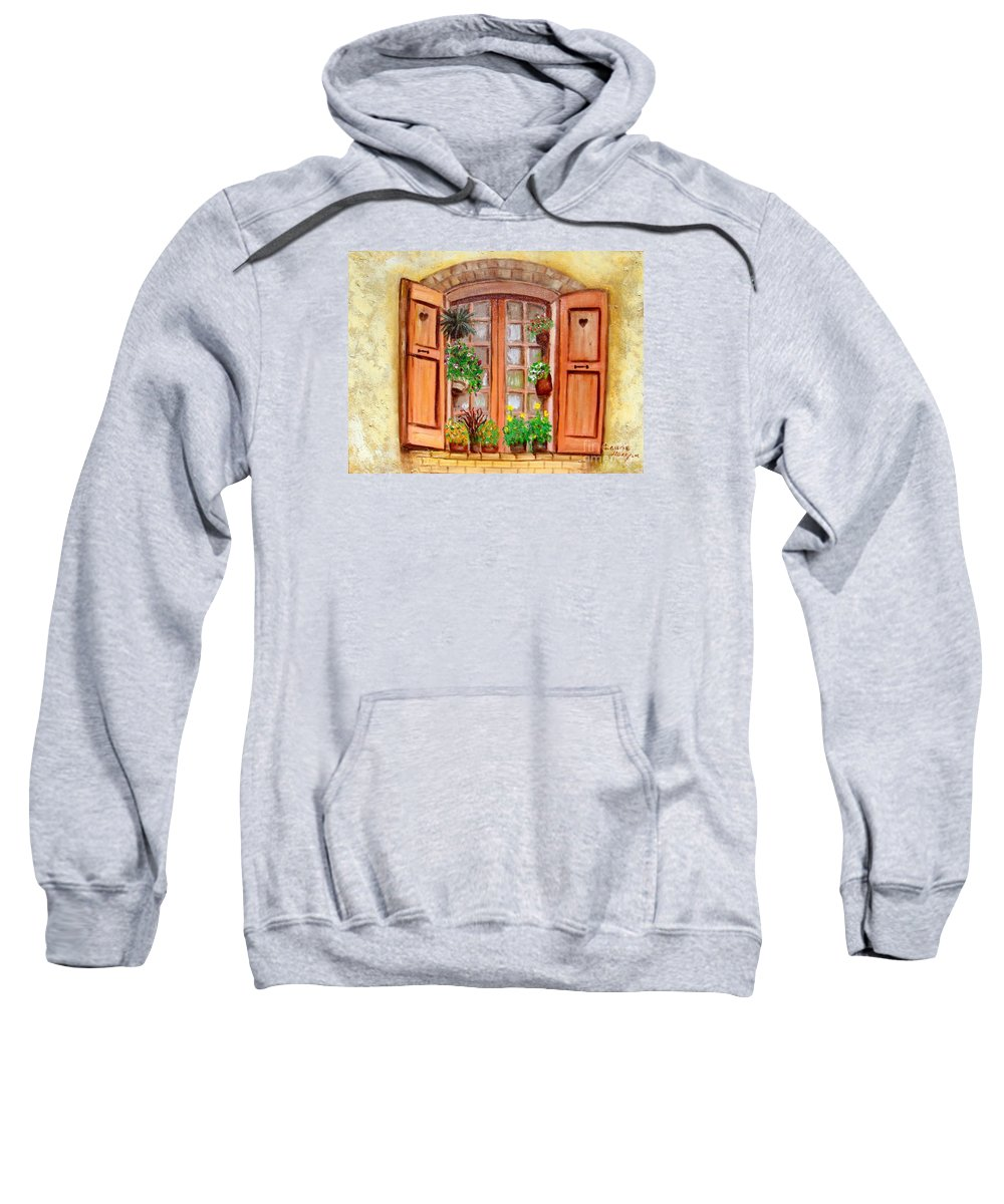 Windows Sweatshirt featuring the painting Love Nest by Laurie Morgan