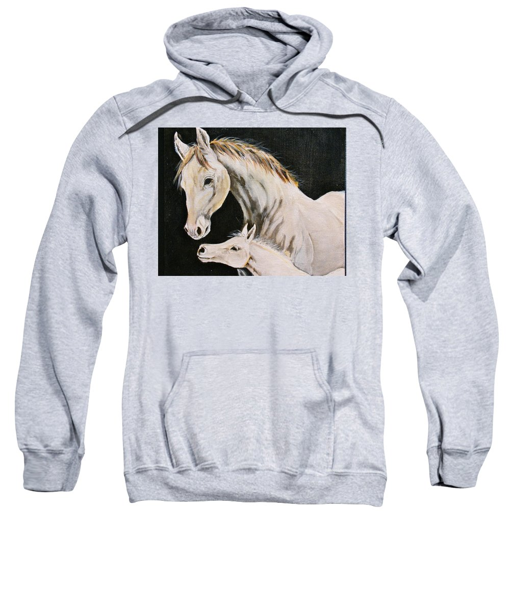 Horses Sweatshirt featuring the painting Love Story Part 3 by Donna Steward