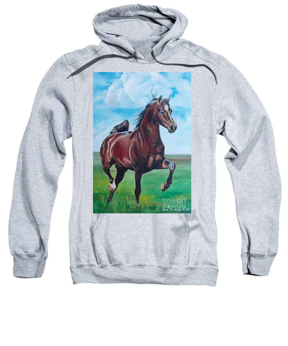 Horse Sweatshirt featuring the painting Lovely by Gina De Gorna