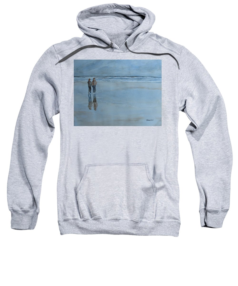 Girls Sweatshirt featuring the painting Low Tide At Agate Beach by Jenny Armitage