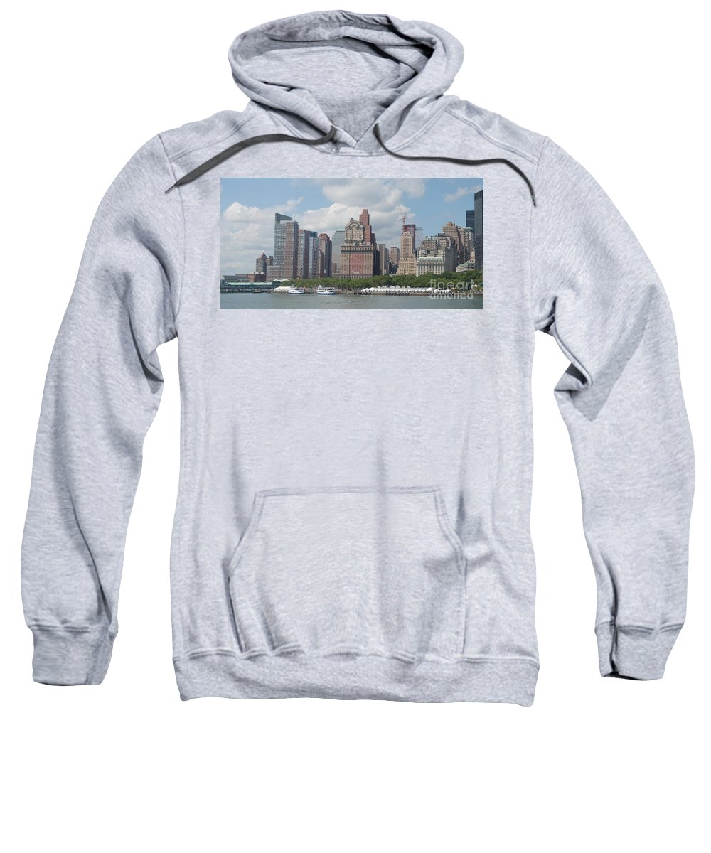 New York Sweatshirt featuring the photograph Lower Manhattan Panorama by Thomas Marchessault