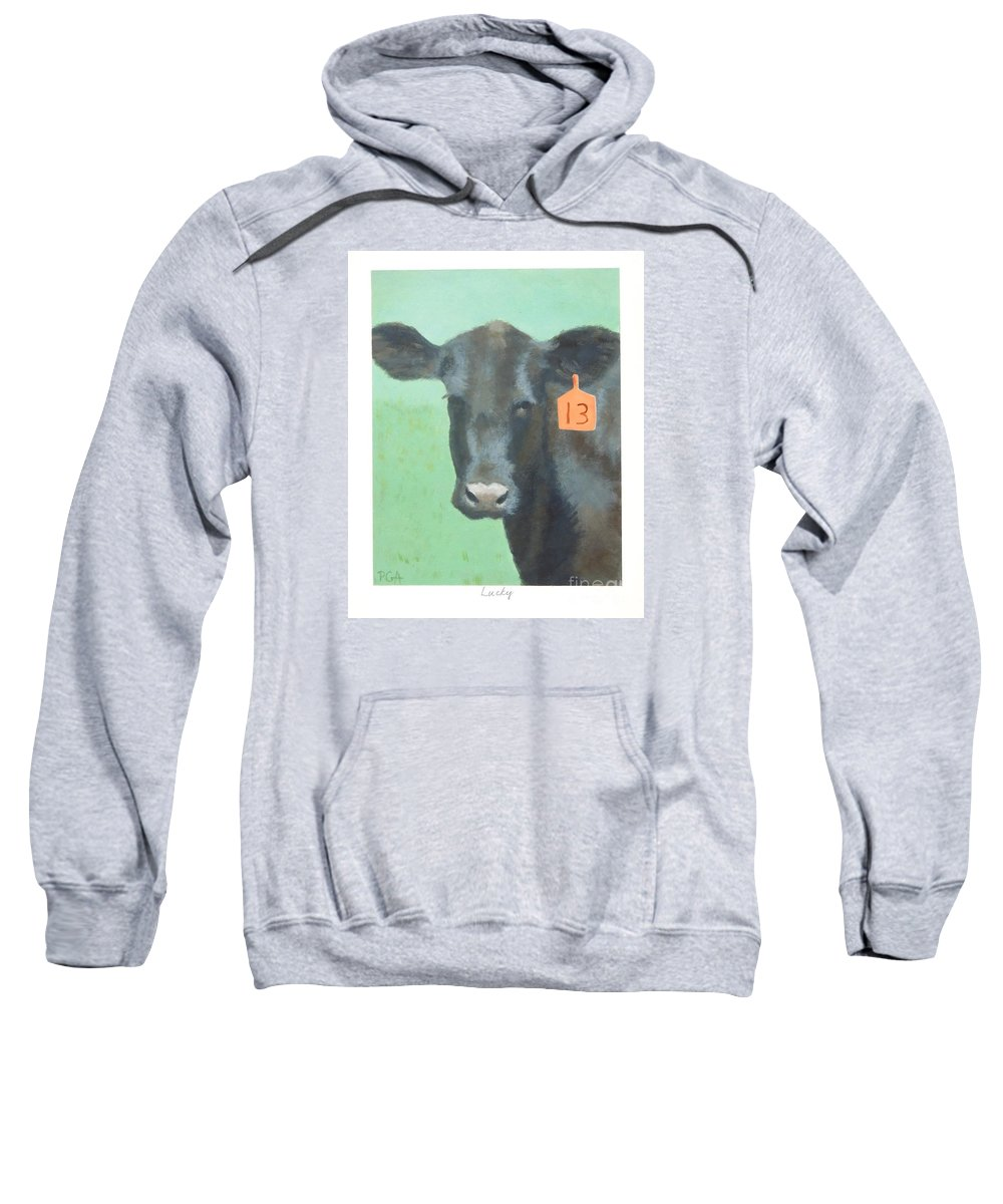 Cow Sweatshirt featuring the painting Lucky by Phyllis Andrews