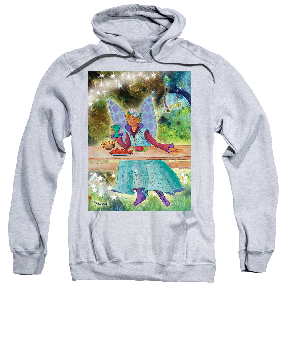 Lulu Beth Twinkle At The Banquet Sweatshirt featuring the mixed media Lulu Beth Twinkle At The Banquet by Teresa Ascone