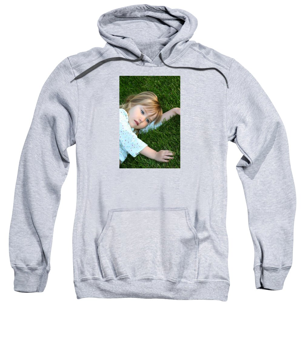 Girl Sweatshirt featuring the photograph Lying In The Grass by Margie Wildblood