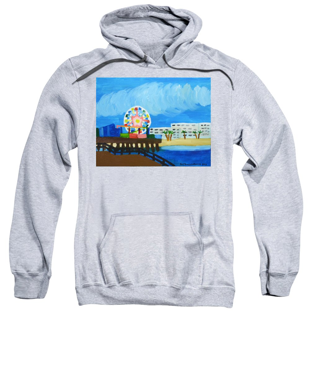Autism Sweatshirt featuring the painting Lyndas Ferris Wheel by Artists With Autism Inc