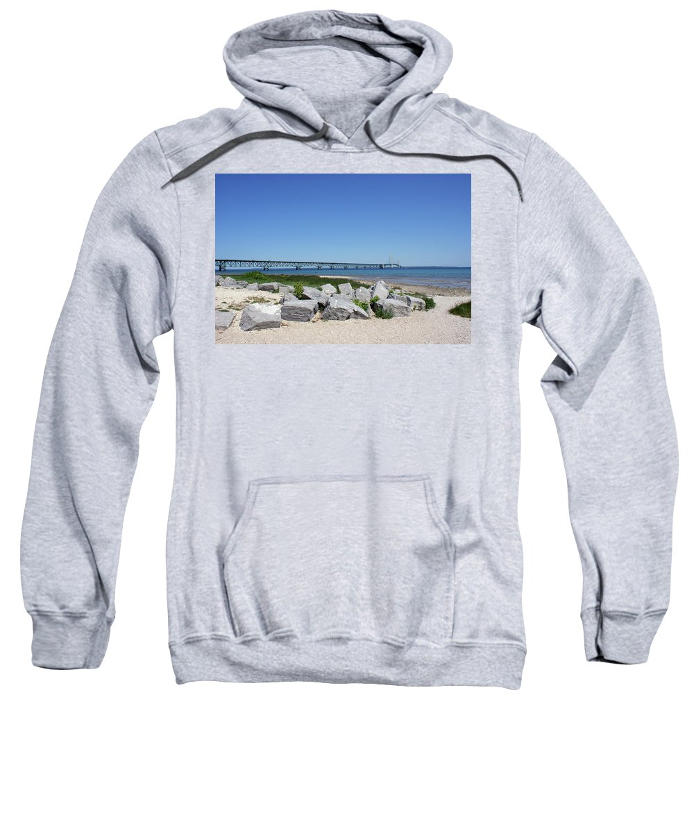 Mackinaw Bridge Sweatshirt featuring the photograph Mackinaw Bridge 2 by Nancy Aurand-Humpf