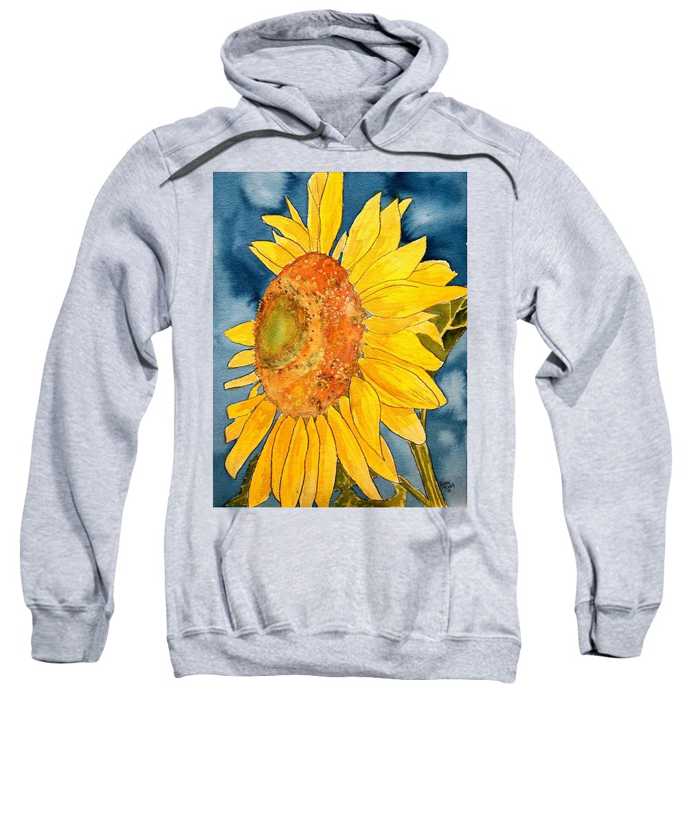 Sunflower Sweatshirt featuring the painting Macro Sunflower Art by Derek Mccrea