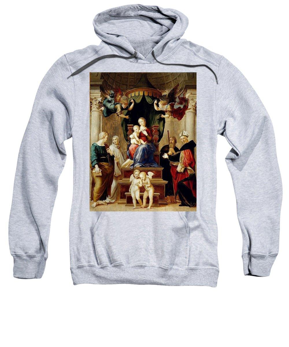 Temple Sweatshirt featuring the digital art Madonna Del Baldacchino Raffaello Sanzio Da Urbino Raphael Raffaello Santi by Eloisa Mannion