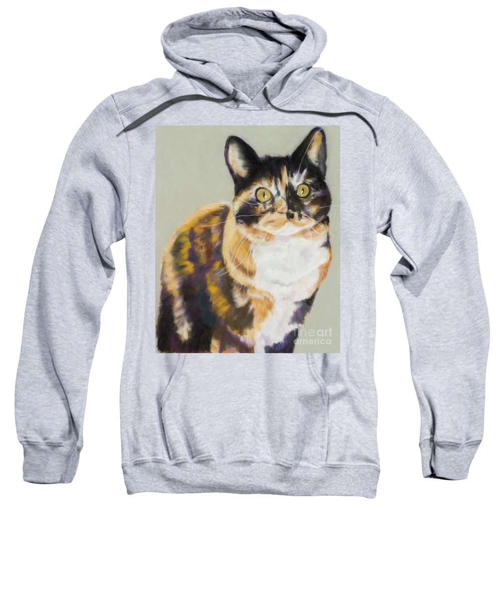 Calico Sweatshirt featuring the painting Maggie Mae by Pat Saunders-White