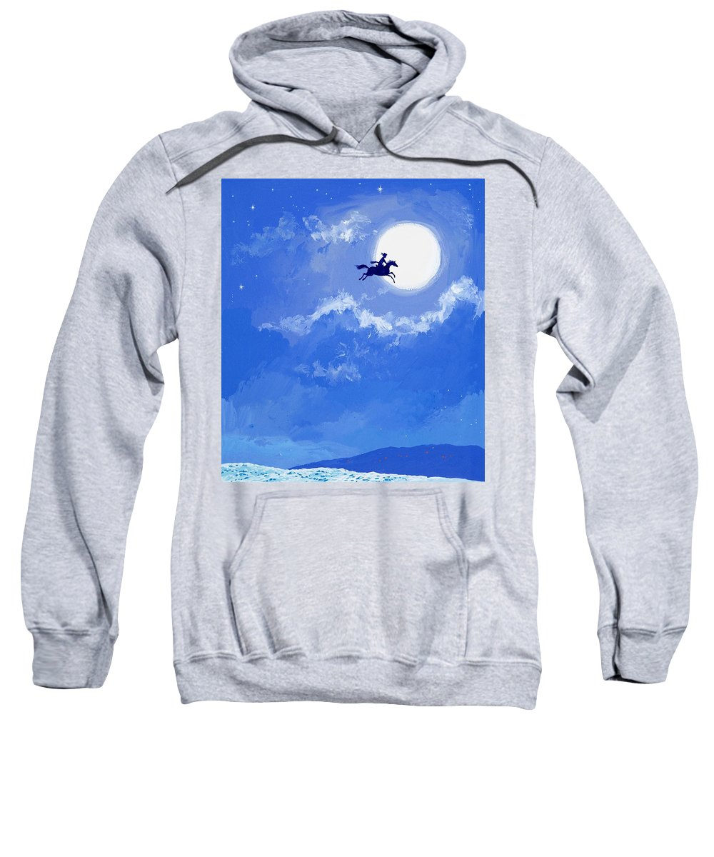 Magic Horse; Sky; Flying; Moon; Blue Sweatshirt featuring the painting Magic Horse by Angus McBride