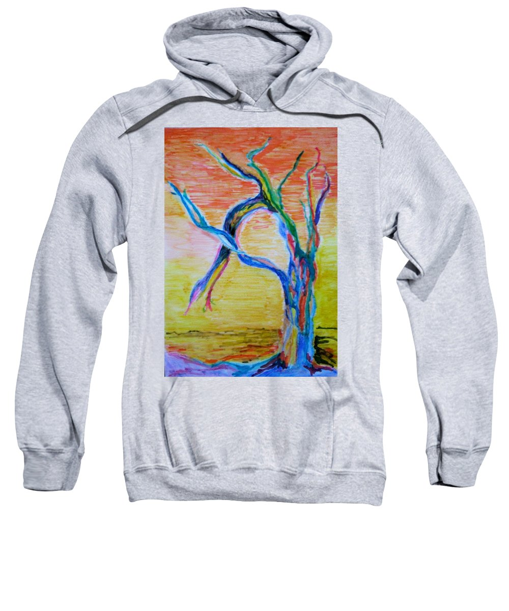Abstract Painting Sweatshirt featuring the painting Magical Tree by Suzanne Udell Levinger