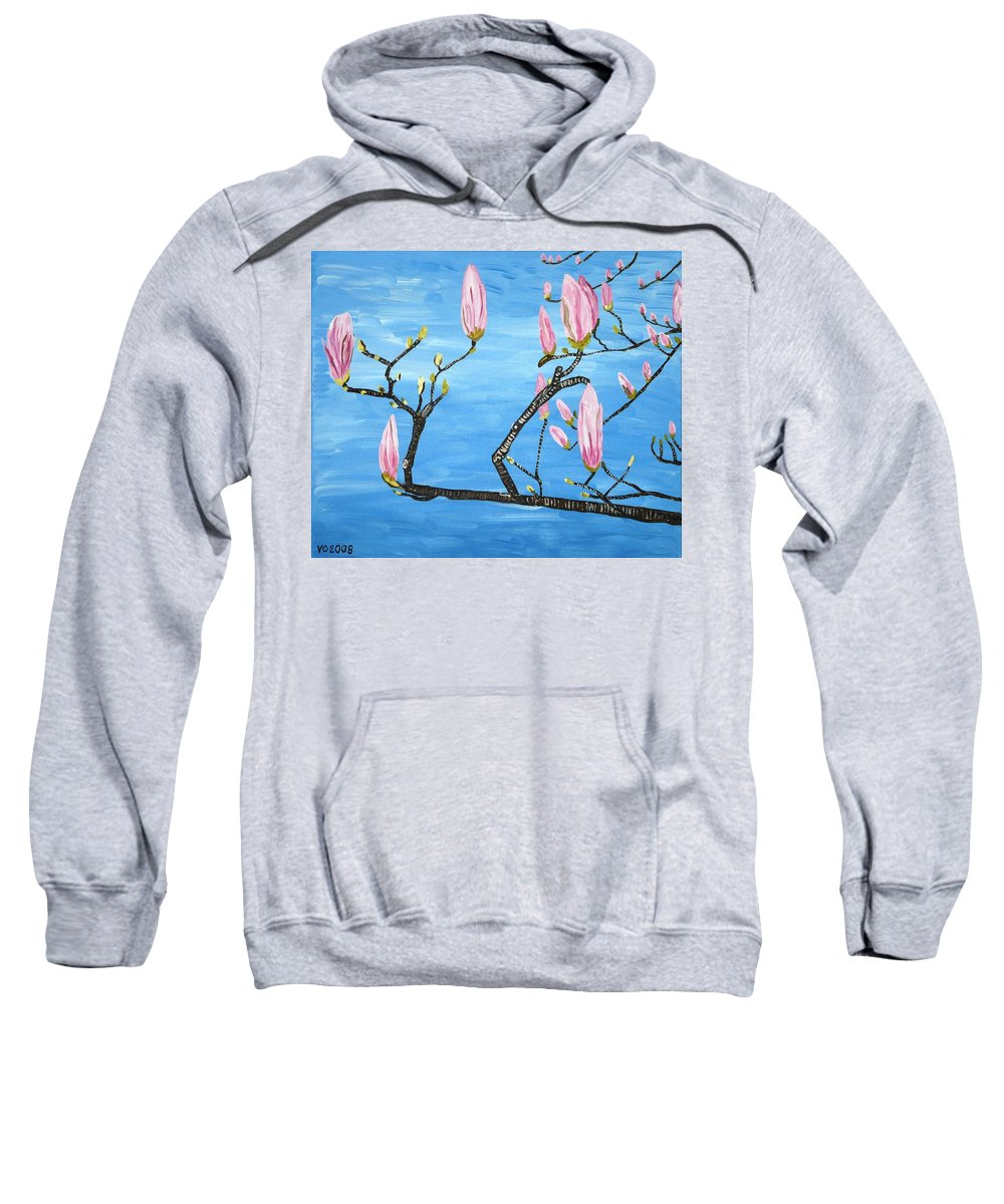Magnolia Sweatshirt featuring the painting Magnolia Blossom by Valerie Ornstein