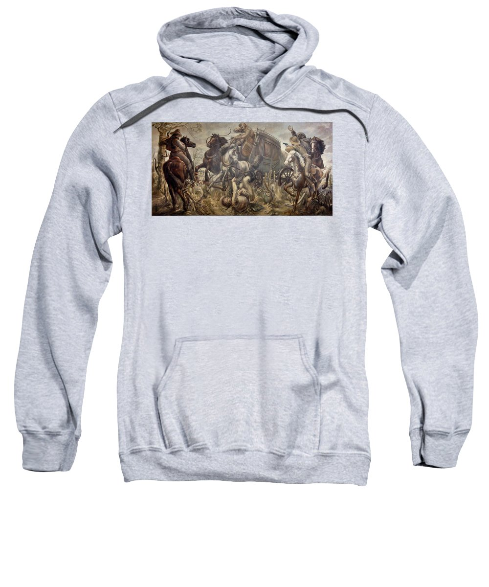 Painting Sweatshirt featuring the painting Mail Coach Attacked By Bandits by Mountain Dreams