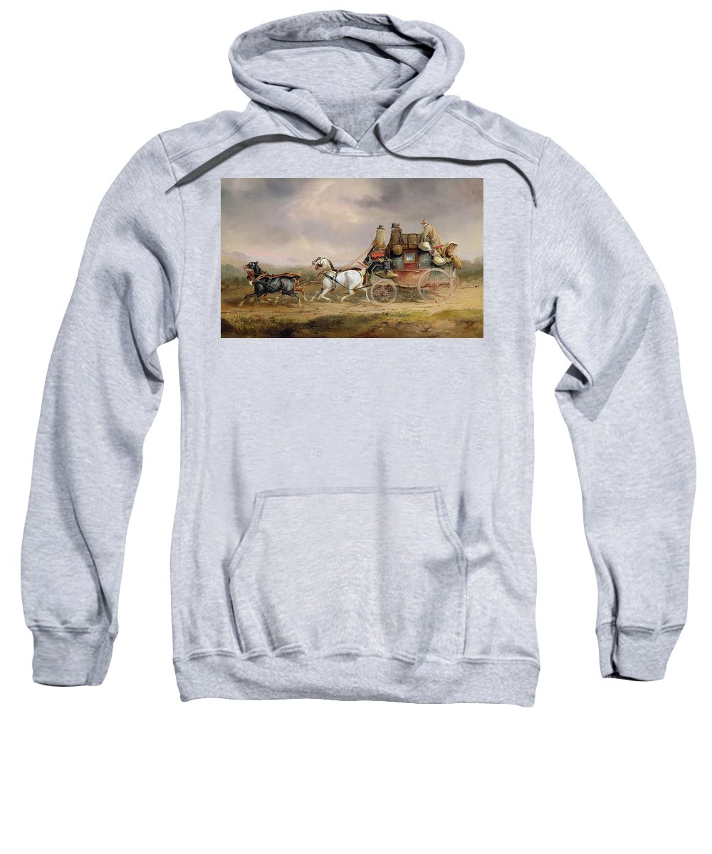 Mail Sweatshirt featuring the painting Mail Coaches On The Road - The Louth-london Royal Mail Progressing At Speed by Charles Cooper Henderson