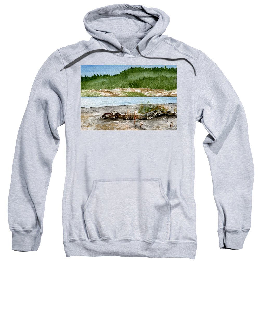 Landscape Sweatshirt featuring the painting Maine Beach Wood by Brenda Owen