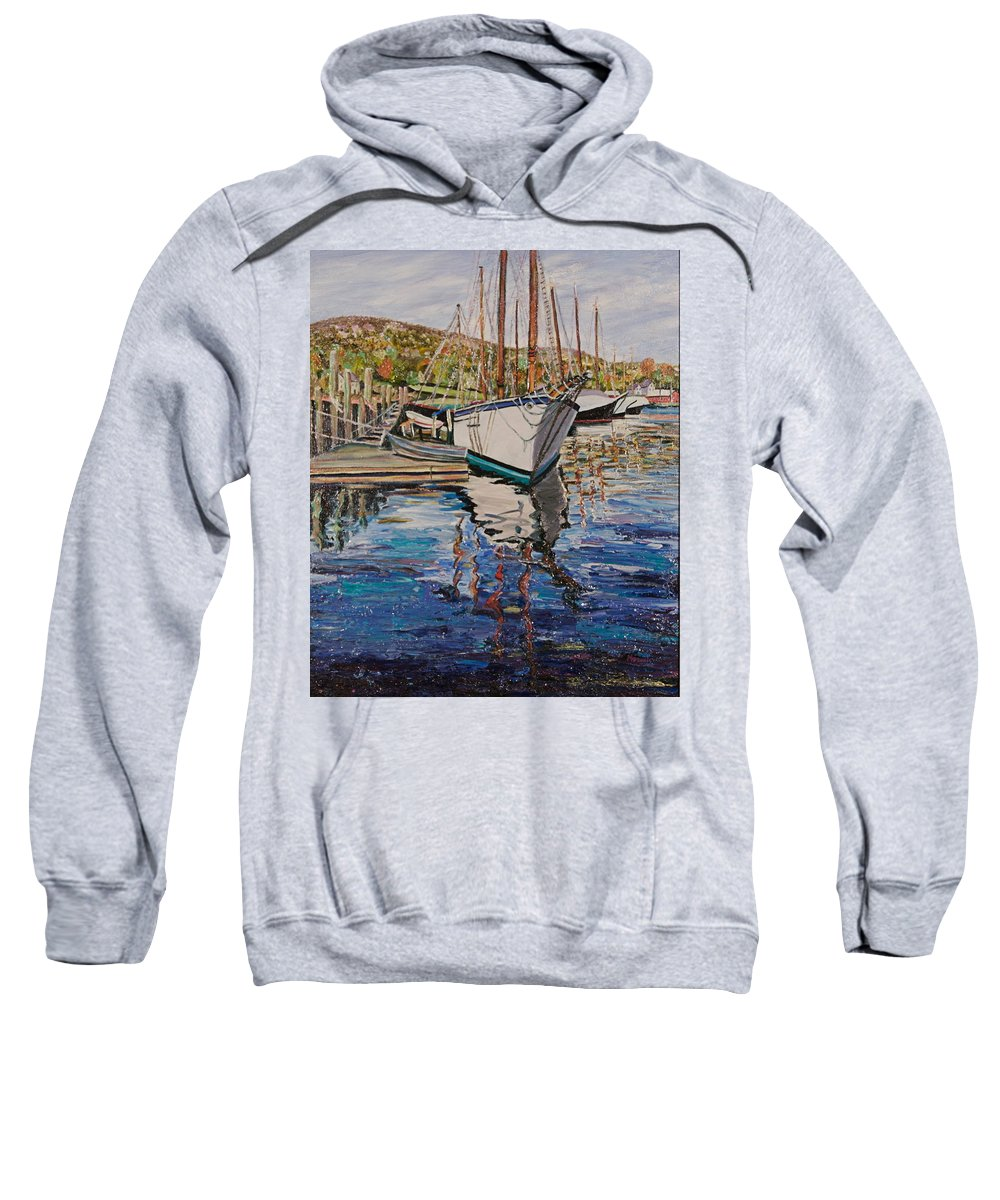 Maine Sweatshirt featuring the painting Maine Coast Boat Reflections by Richard Nowak