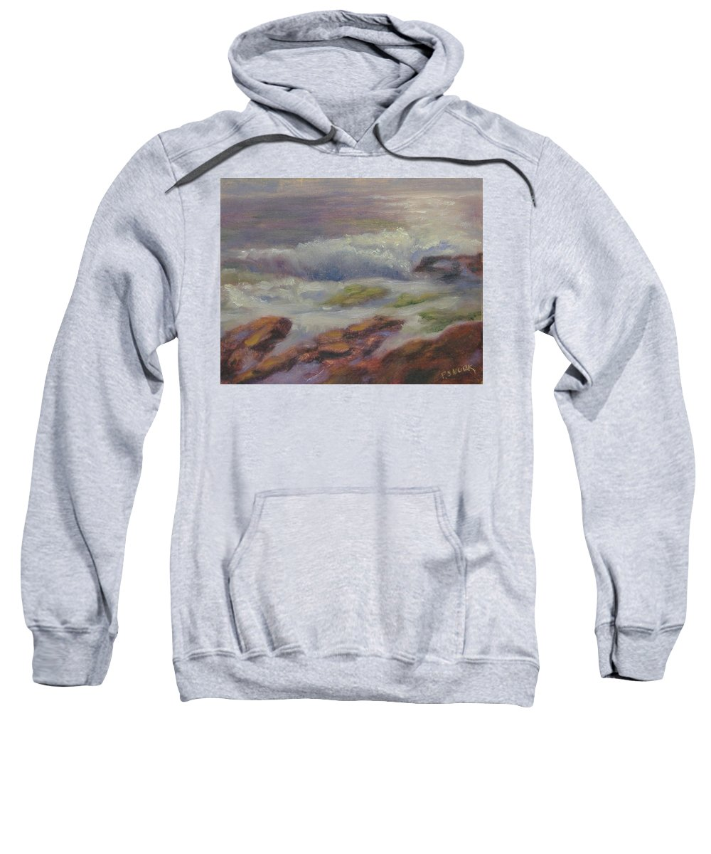 Seascape Sweatshirt featuring the painting Maine Coast by Pat Snook